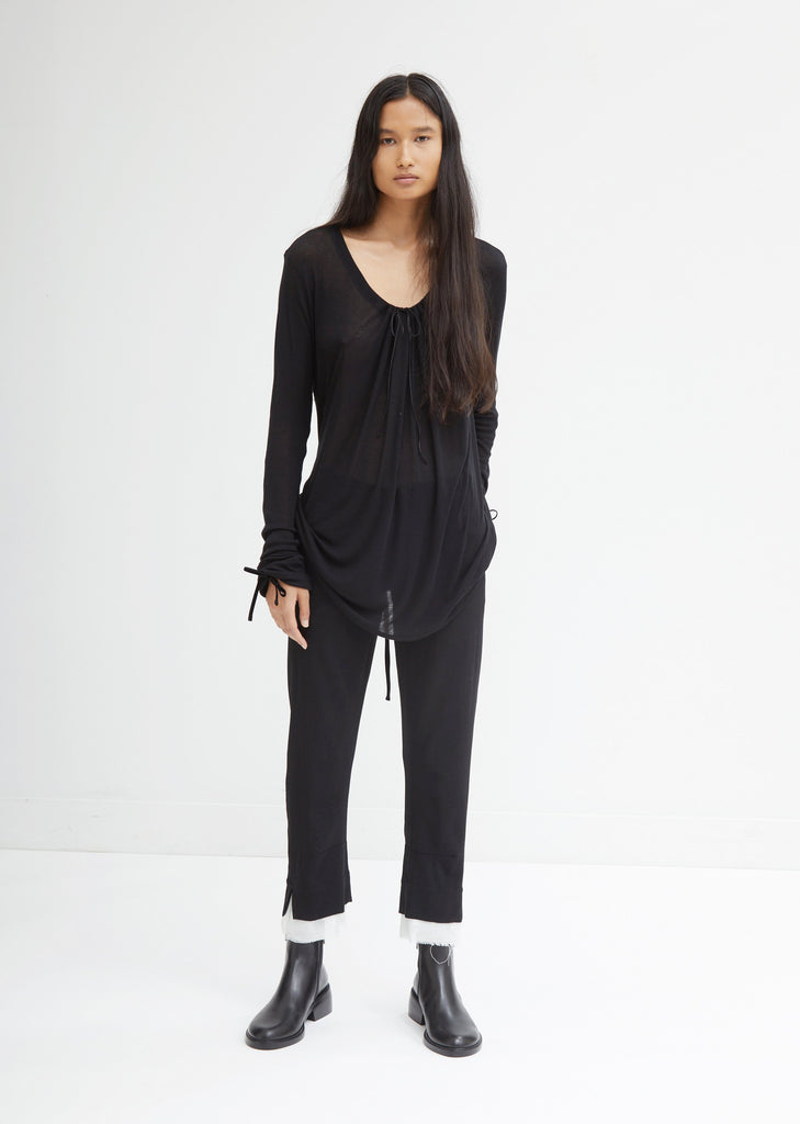 Cropped Trousers With Raw Edge Cuffs