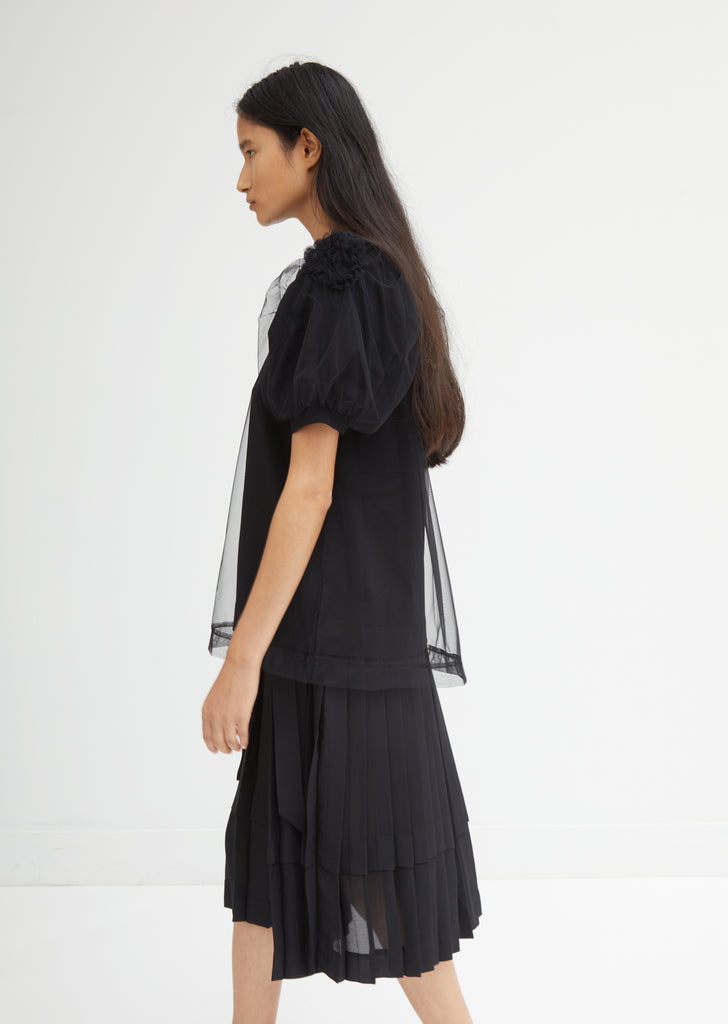 Ruched Flower Sleeve Tulle T-Shirt