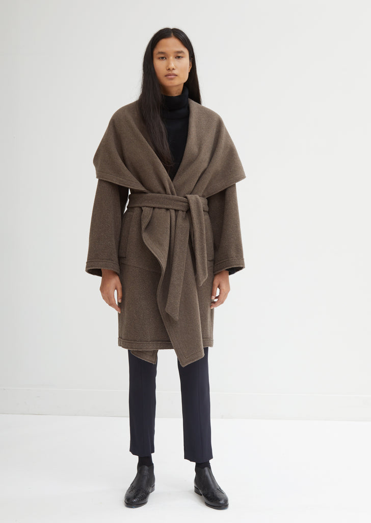 Washed Cashmere Hooded Coat