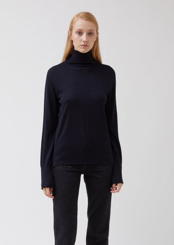 Ninon Turtleneck Wool Silk Fine Knit Sweater
