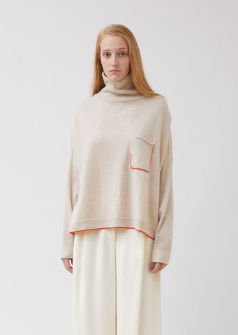 Cashmere Turtleneck Sweater with Pocket