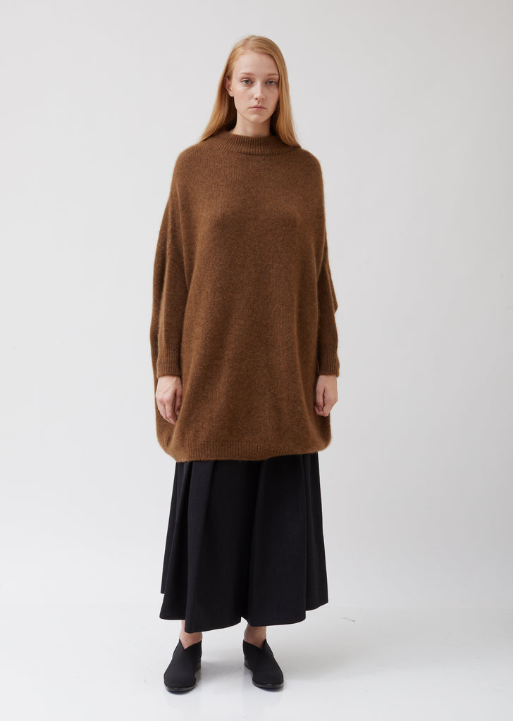 Cashmere and Silk Oversized Round Neck Tunic Sweater