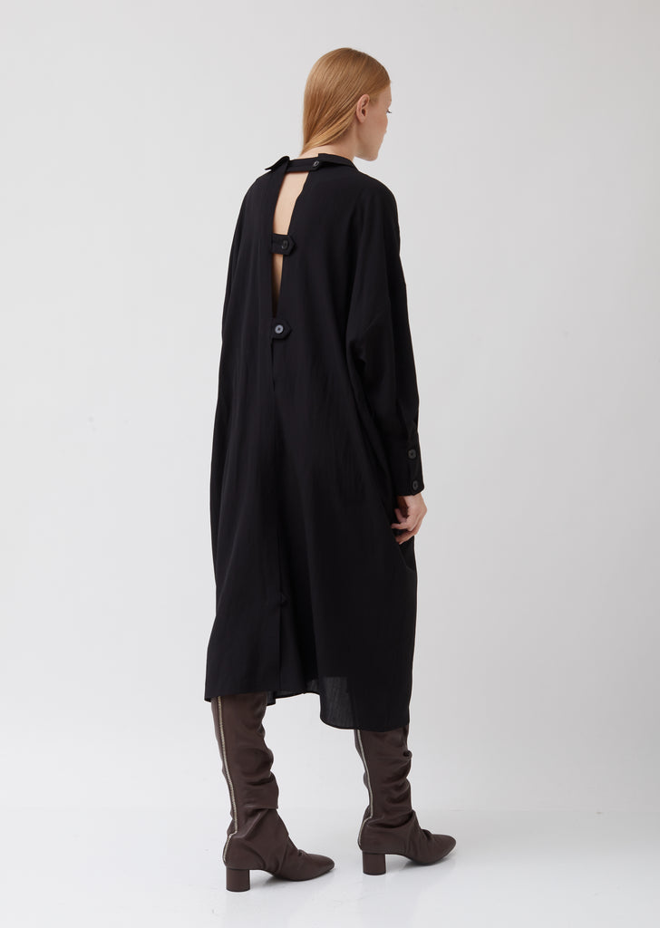 Wool-Linen Belted Trench Dress