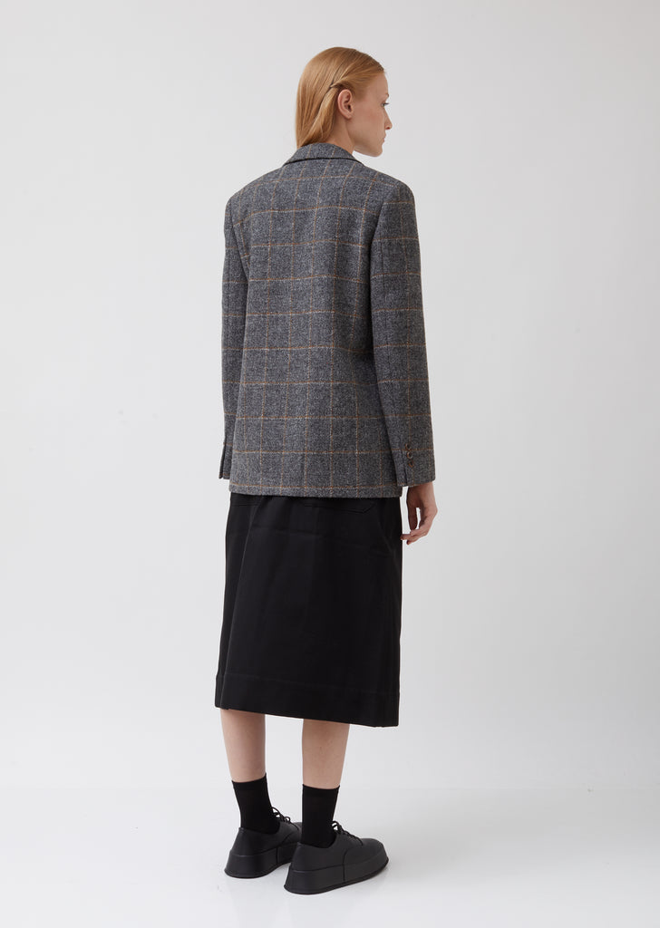 Single-Breasted Patch Pocket Wool Blazer