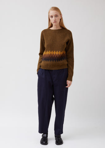 Banded Fairisle Wool Sweater