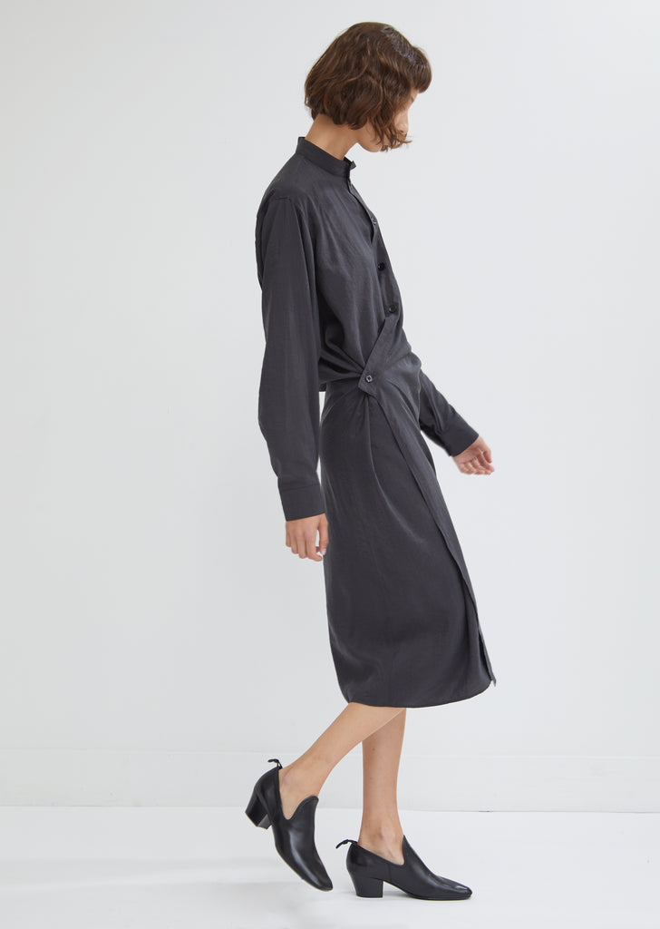 High Collar Twisted Dress