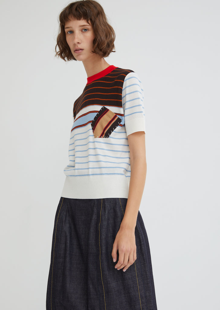 Short Sleeved Striped Sweater