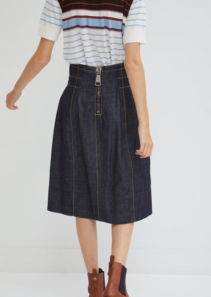 Denim Highwaisted Midi Skirt