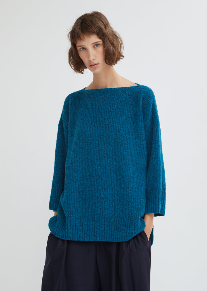 Boucle Knit Crew Neck Sweater