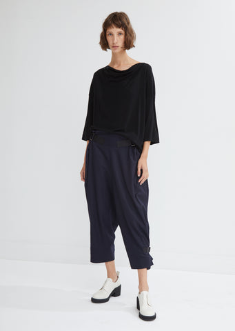 Buckled Hem Wool Trousers