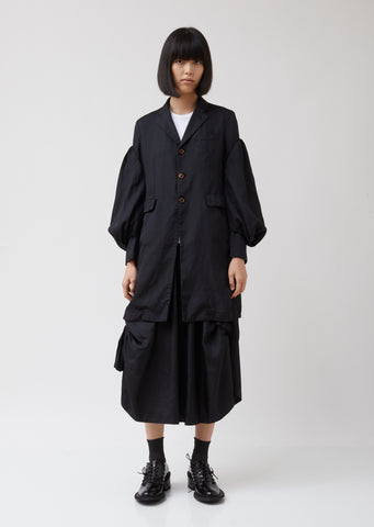 Puff Sleeve Dobby Long Jacket