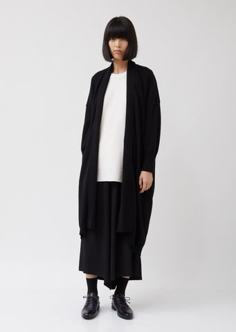 Open Collar Long Cardigan