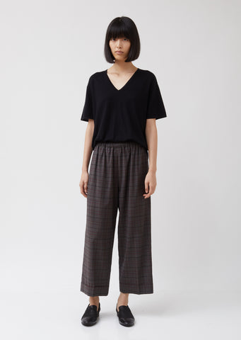 Tropical Wool Cuffed Wide Leg Pull-On Trousers