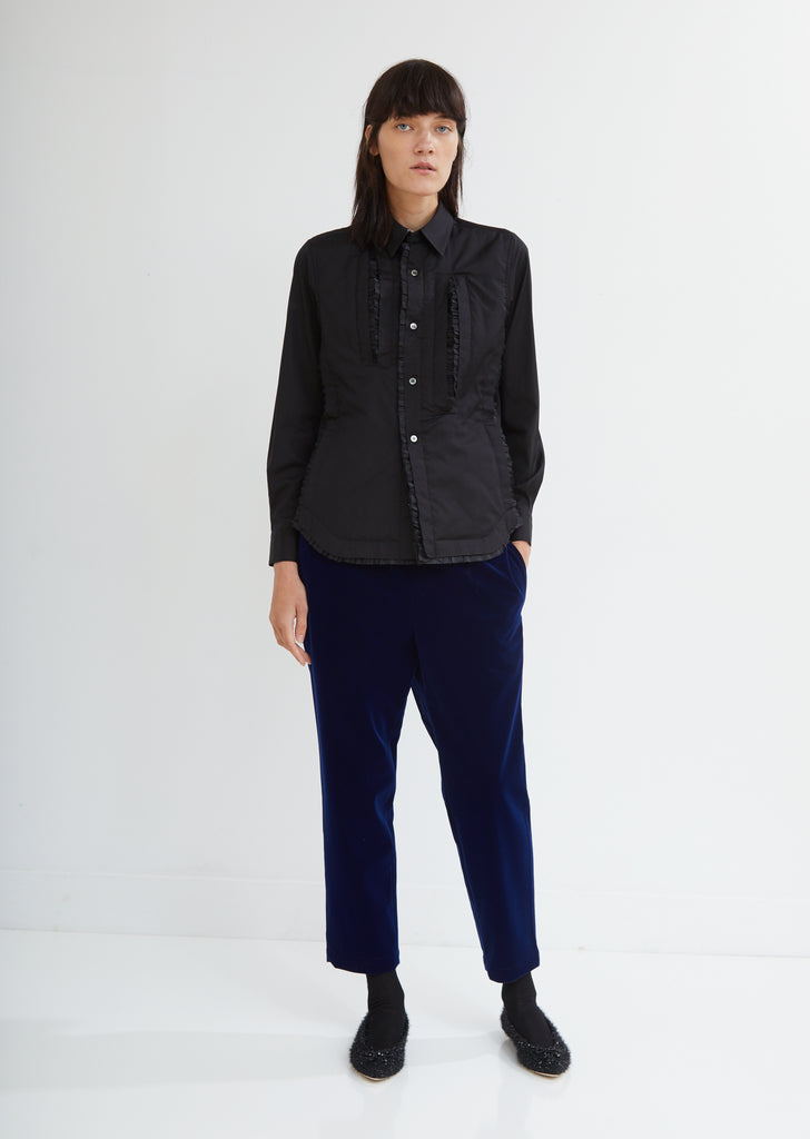 Deconstructed Cotton Button Front Top