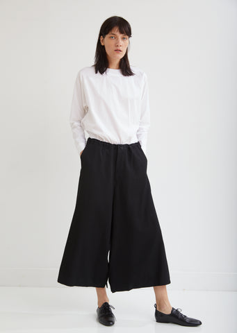 Button Drop Crotch Wool Pants