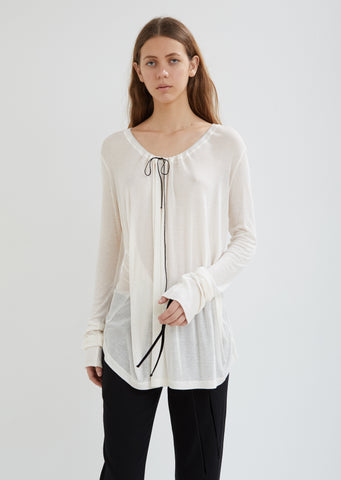 Drawstring Scoop Neck Top