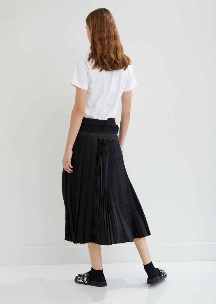Melton Wool Pleated Wrap-Over Skirt