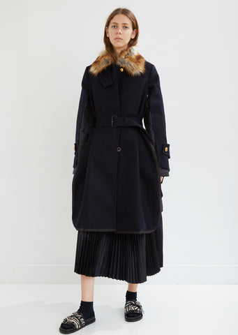 Faux Fur Trimmed Melton Wool Combo Coat