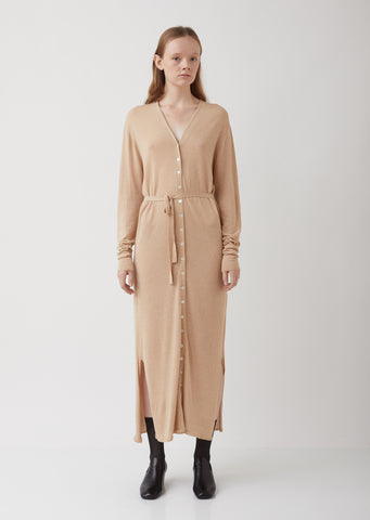 Ginger Beige Viscose-Linen Cardigan Dress
