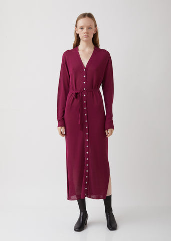 Magenta Viscose-Linen Cardigan Dress
