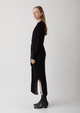 Black Viscose-Linen Cardigan Dress