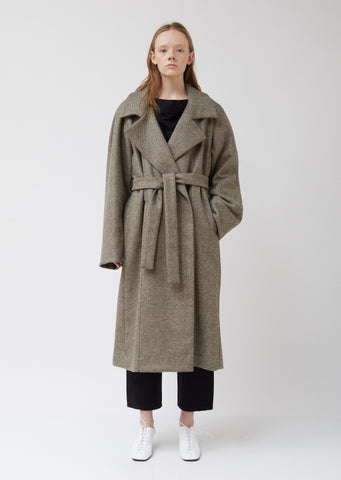 Asymetrical Wool Wrap Coat