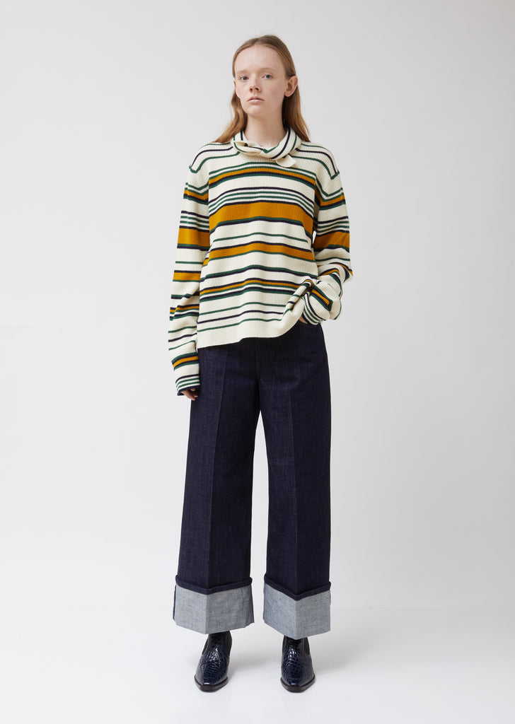 Tie Collar Stripe Wool Jumper