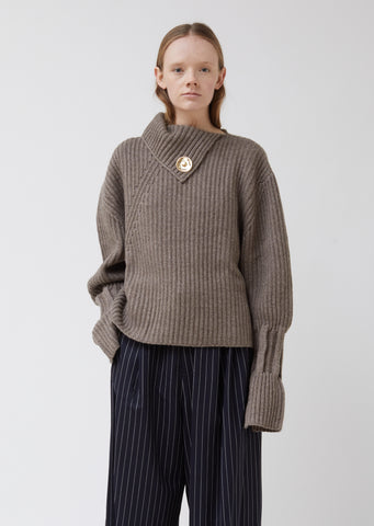 Chunky Knit Jumper With Poppers