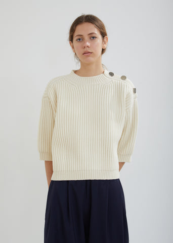 Moore Shoulder Buttoned Crew Neck Sweater