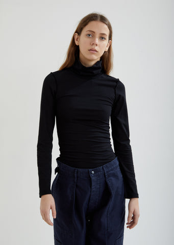Fitted Inside-Out Long Sleeve Turtleneck Top
