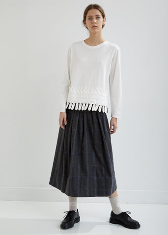Pleated Wool Check Skirt