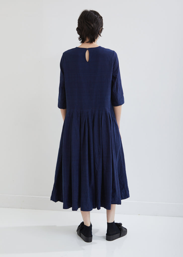 Double Rideau Cotton Indigo Dress