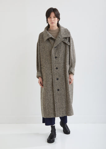 Convertible Collar Herringbone Coat