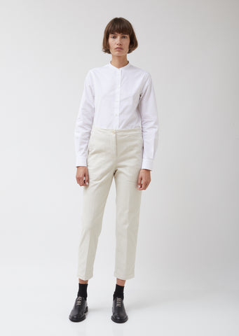 Cream Cotton Twill Trousers