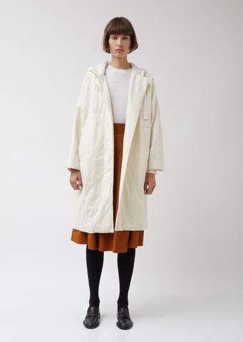 Cream Wool Hooded Coat