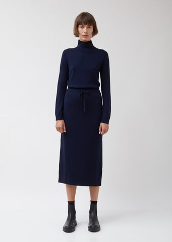 Navy Merino Wool Drawstring Skirt
