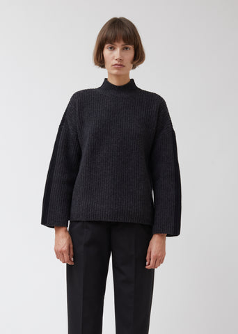Mockneck Felted Wool Rib Sweater