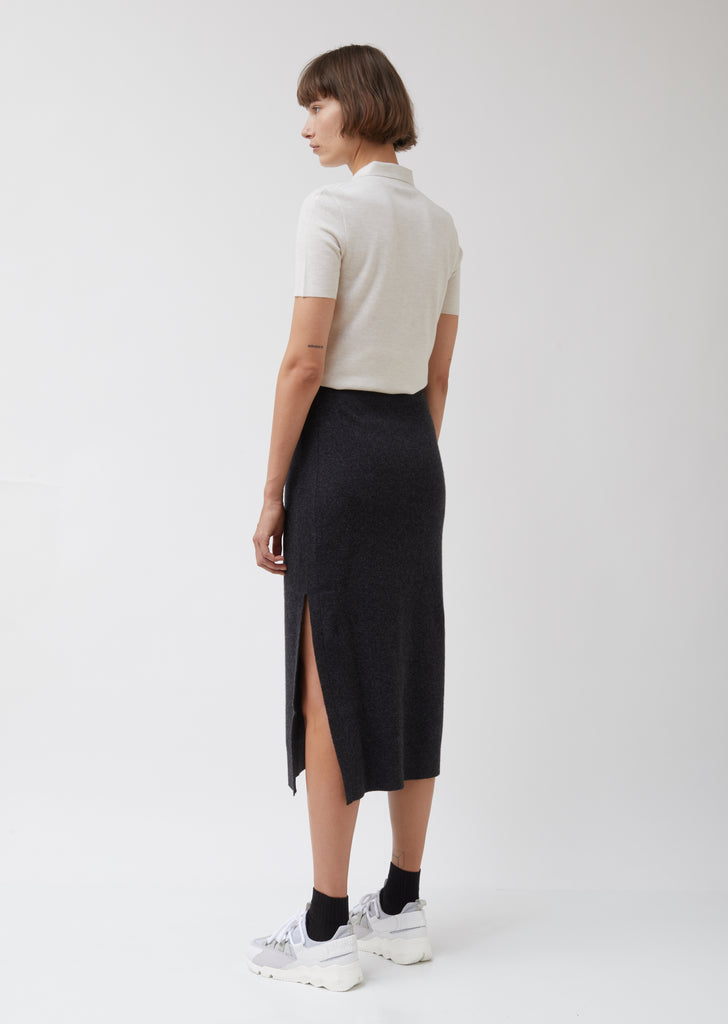 Long Cashmere Wool Pencil Skirt