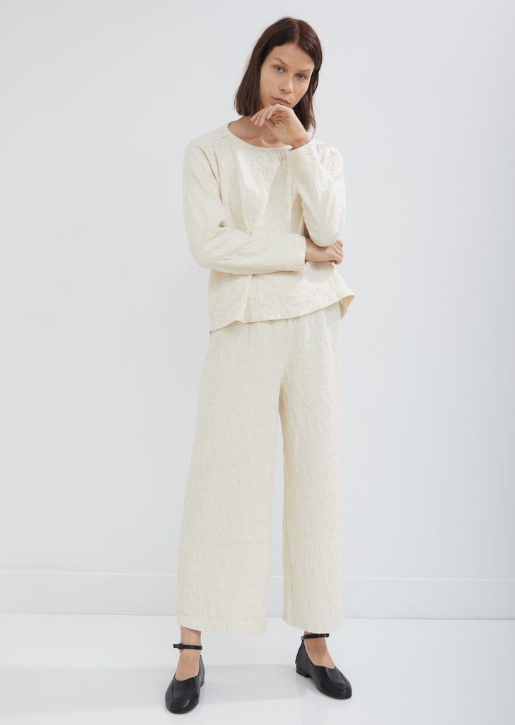 Wide Leg Jacquard Pants