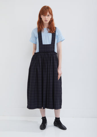 Wool Mottled Check Suspender Skirt