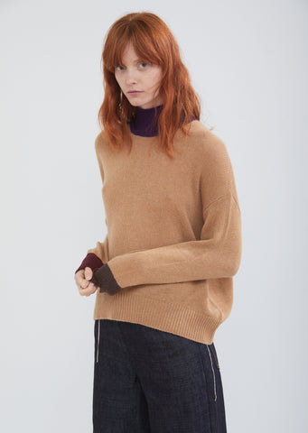 Color Block Cashmere Turtleneck Sweater