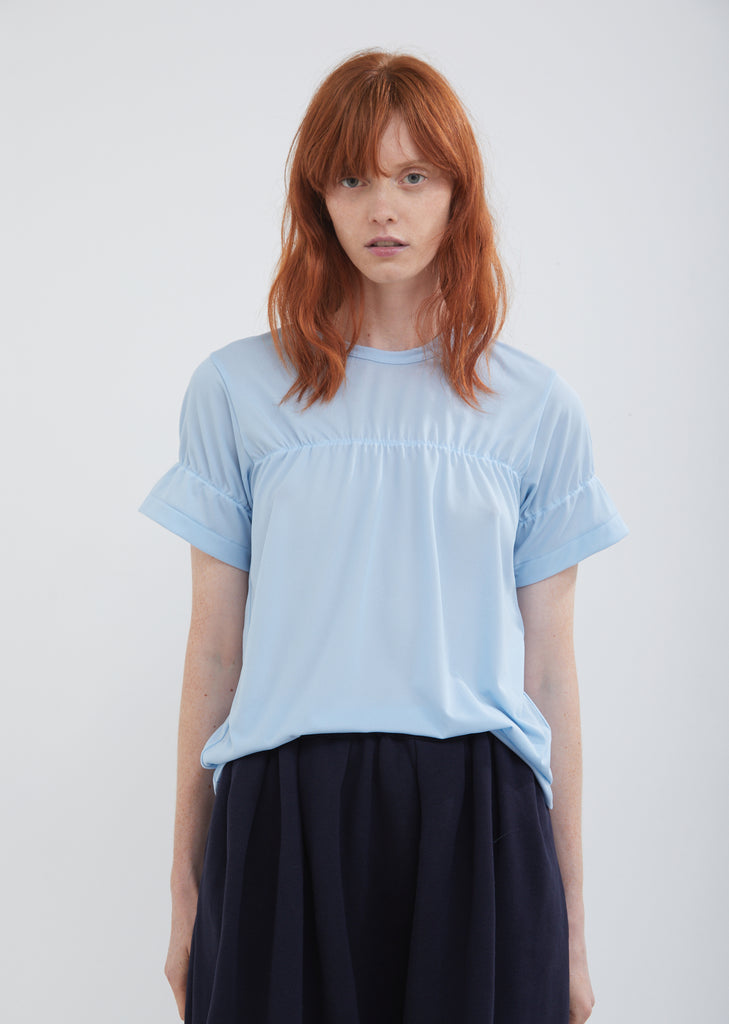Pleated Georgette Short Sleeve Top