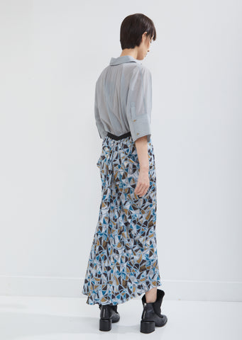 Satin Draped Skirt with Abstract Print