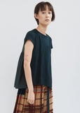 Cotton Pleated Back T-Shirt