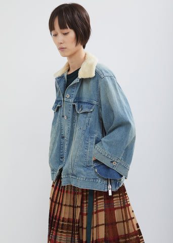 Denim Shearling Collar Jacket
