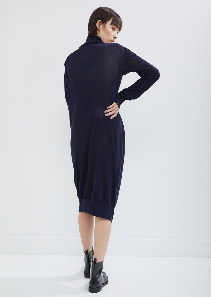 Zip Wool Knit Turtleneck Dress