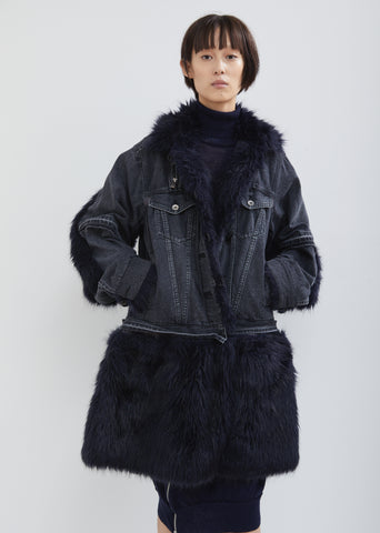 Denim Fur Trim Coat