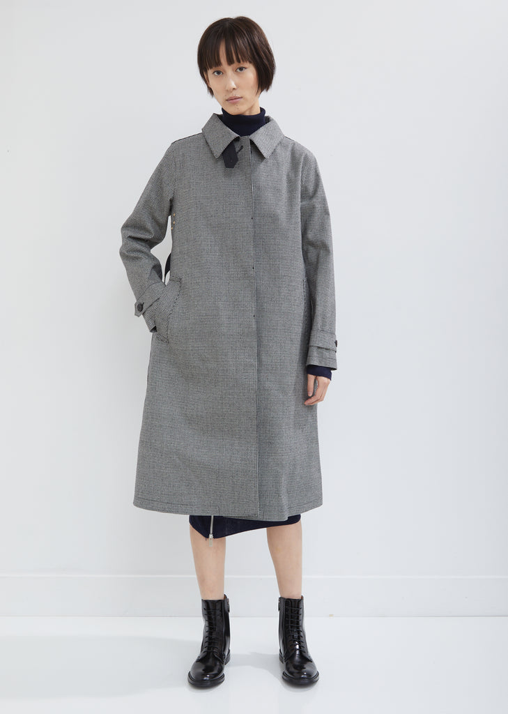 Rubberized Houndstooth Trench Coat