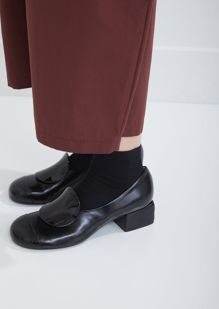 Leather Block Heel Pumps