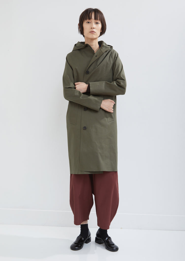 Rubberised Hooded Single Breasted Coat